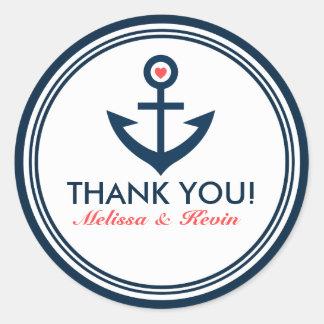 Ancre de bateau de BlueNautical de marine de Merci Sticker Rond