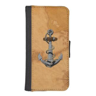 Ancre de bateau et carte nautique coque avec portefeuille pour iPhone 5