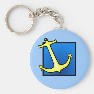 Ancre de bateau nautique porte-clé rond