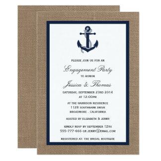 Ancre de bleu marine sur le fiançailles nautique carton d'invitation  12,7 cm x 17,78 cm