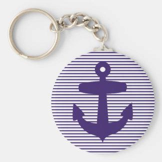 Ancre de marine avec les rayures bretonnes bleues porte-clé rond