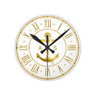 Ancre d'or avec les cadeaux nautiques de la corde horloge ronde