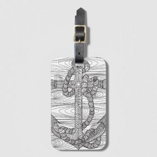 Ancre et corde de style étiquettes bagages