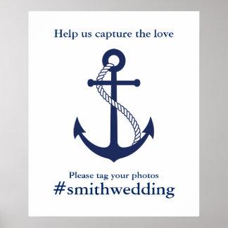 Ancre Hashtag l'épousant nautique de bleu marine Poster