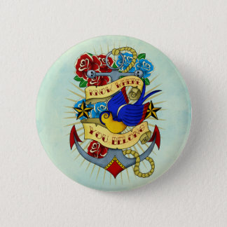 Ancre, hirondelle et roses badge