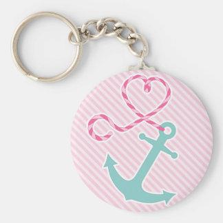 Ancre mignonne avec la corde de coeur - rose et Aq Porte-clef
