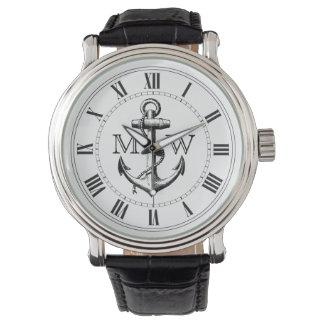 Ancre, monogramme nautique montre