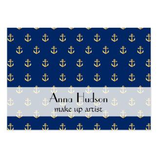 Ancre nautique à la mode - or bleu cartes de visite professionnelles
