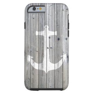 Ancre nautique blanche vintage de hippie sur le coque iPhone 6 tough