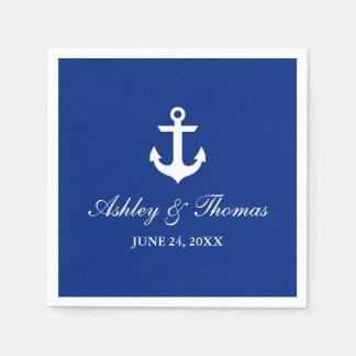 Ancre nautique C bleu de mariage Serviettes Jetables