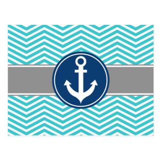 Ancre nautique Chevron de turquoise Carte Postale