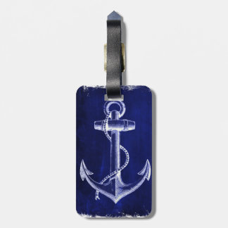 ancre nautique chic côtière de bleu marine de étiquette à bagage