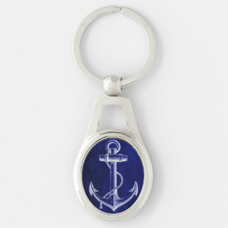ancre nautique chic côtière de bleu marine de porte-clé ovale argenté