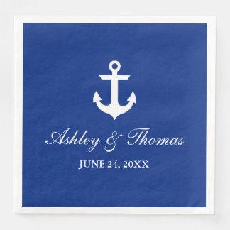 Ancre nautique D bleu de mariage Serviette En Papier