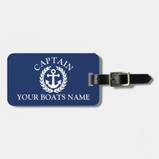Ancre nautique de bateaux de capitaine de bateau étiquette à bagage