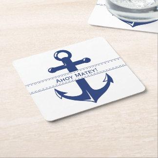 Ancre nautique de bleu marine avec le texte dessous-de-verre carré en papier