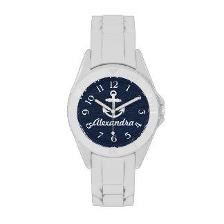 Ancre nautique de bleu marine/blanche a montres bracelet