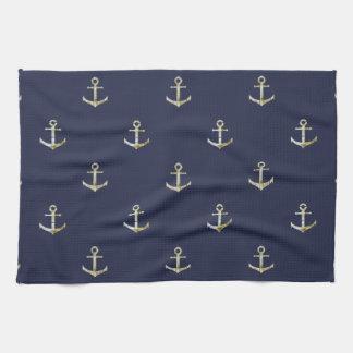 Ancre nautique de bleu marine linges de cuisine