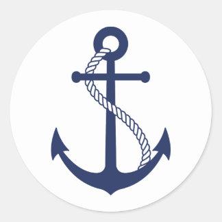 Ancre nautique de bleu marine sticker rond