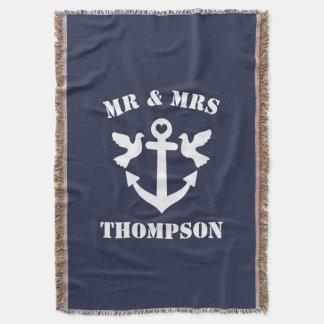 Ancre nautique de M. et de Mme bleu marine et Couvertures