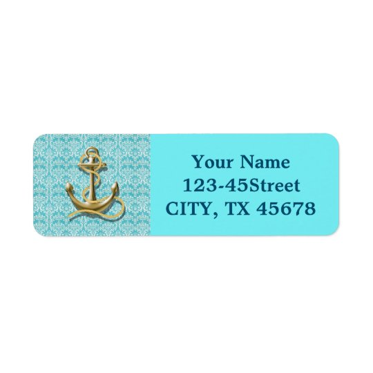 ancre nautique de marin de damassé de turquoise de étiquettes d'adresse retour