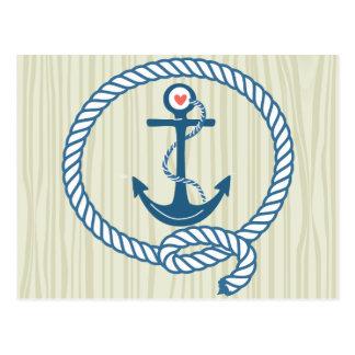 Ancre nautique de marine avec la corde et un coeur cartes postales