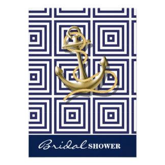 ancre nautique de motif de très bon goût de bleu carton d'invitation  11,43 cm x 15,87 cm