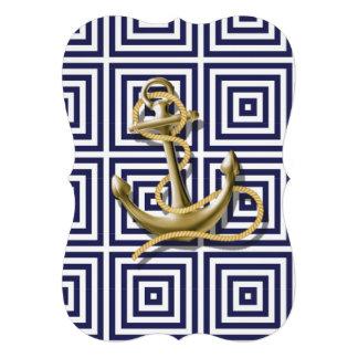 ancre nautique de motif de très bon goût de bleu carton d'invitation  12,7 cm x 17,78 cm