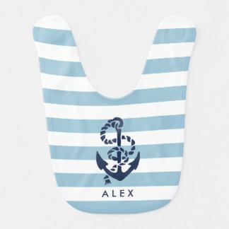 Ancre nautique de rayure bleue personnalisée bavoirs pour bébé