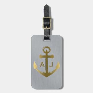 Ancre nautique d'or argenté métallique décorée étiquette à bagage