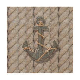 ancre nautique en bois de corde de plage côtière impression sur bois