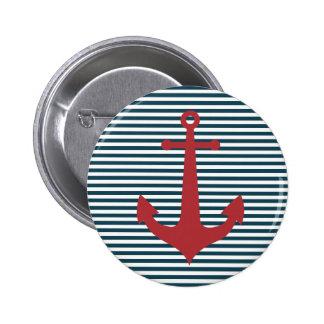 Ancre nautique rouge sur l'arrière - plan bleu ray badge rond 5 cm