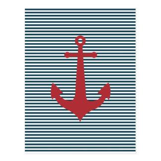 Ancre nautique rouge sur l'arrière - plan bleu ray carte postale