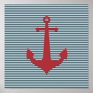 Ancre nautique rouge sur l'arrière - plan bleu ray posters