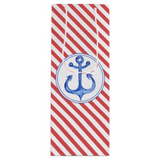 Ancre nautique - sac rayé de cadeau de bleu marine