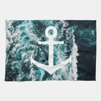 Ancre nautique sur l'arrière - plan de photo serviettes éponge