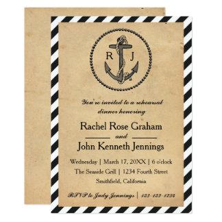 Ancre nautique vintage - invitation de dîner de