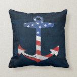 Ancre patriotique vintage USA nautiques de drapeau Coussin