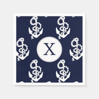 Ancre personnalisée de bleu marine de monogramme serviettes jetables