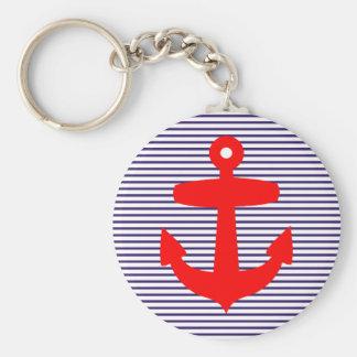 Ancre rouge avec des rayures de Breton de bleu mar Porte-clé Rond
