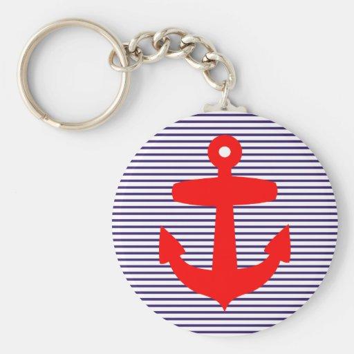 Ancre rouge avec des rayures de Breton de bleu mar Porte-clef