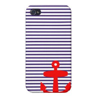 Ancre rouge avec les rayures bretonnes bleues iPhone 4 case