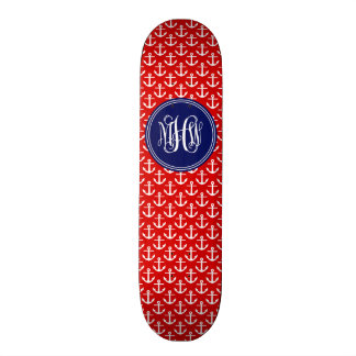 Ancres blanches sur le rouge, monogramme initial skateboard 19,7 cm