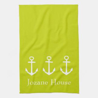 Ancres blanches sur le vert de chaux tropical serviettes éponge