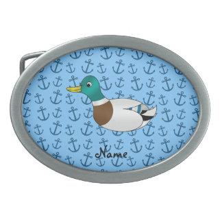 Ancres bleues en pastel personnalisées de canard n boucles de ceinture ovales