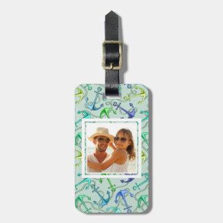 Ancres flottantes de photo et motif faits sur étiquette à bagage
