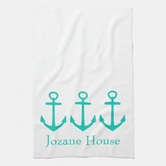 Ancres flottantes d'île sur le blanc personnalisé linge de cuisine