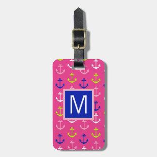 Ancres nautiques de très bon goût du monogramme | étiquette pour bagages