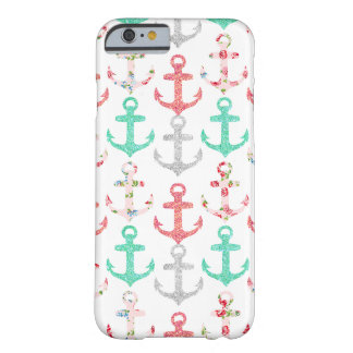 Ancres nautiques florales de scintillement Girly Coque iPhone 6 Barely There