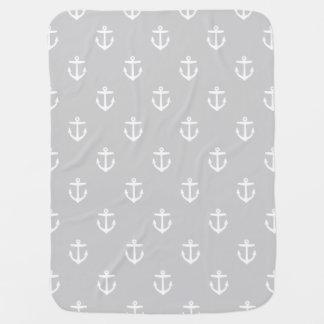 Ancres nautiques grises et blanches couvertures pour bébé